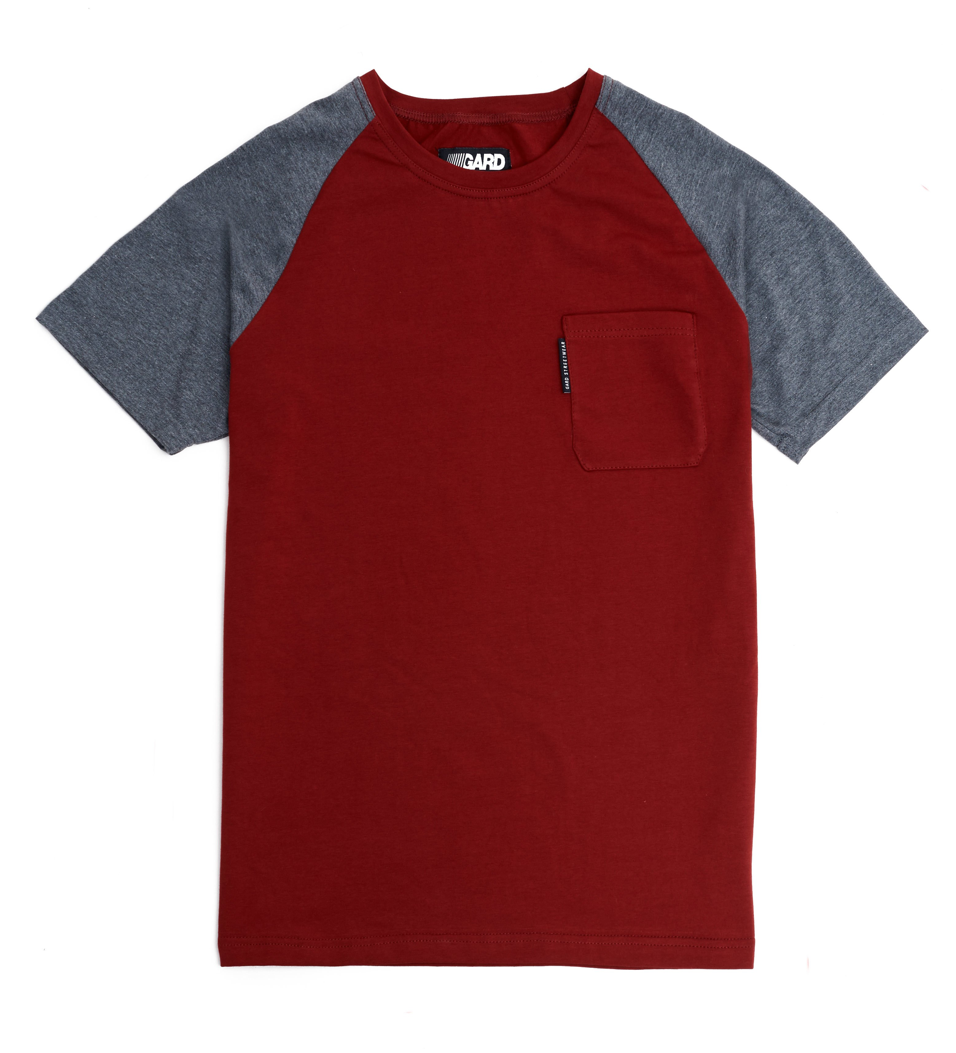 T-SHIRT WITH POCKET 3/17 burgundy-gray